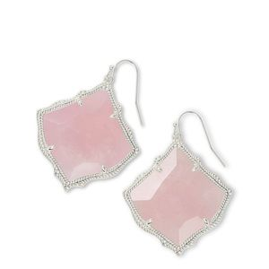 🆕 Kirsten Silver Drop Earrings In Rose Quartz